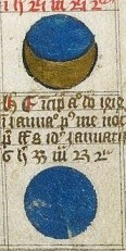 Detail from diagrams of the eclipse of the moon, English in origin, from British Library MS Arundel 347, f. 34.