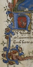 BL Arundel 38, f.37r (Detail of historiated initial capital 'h' framing crest of a lion and foliate border, below miniature of a crowned man and a kneeling man both holding a book, usually assumed to depict the presentation of the Regiment of Princes to its dedicatee, Henry V as Prince of Wales.)