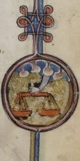 Detail of hand holding scales, origin England, from British Library MS Yates Thompson 13, f. 5.